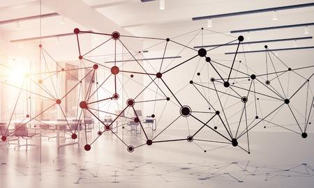 Linien verbunden mit Punkten als soziales Kommunikationskonzept im Büroinnenraum . 3D-Rendering Standard-Bild - 93223878