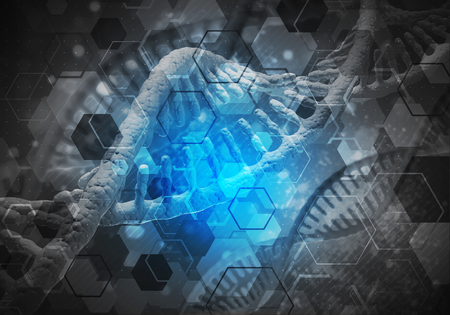 Background image with DNA molecule research concept. 3D rendering Stock Photo