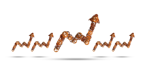 Growing arrow graph made of gears and cogwheels on white background