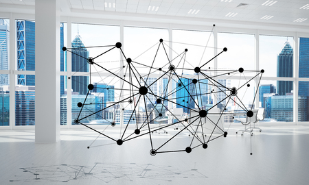 Linien verbunden mit Punkten als soziales Kommunikationskonzept im Büroinnenraum . 3D-Rendering Standard-Bild - 93730625