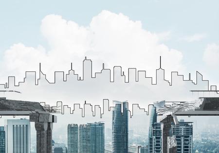 Een hiaat in concrete brug als symbool van gevaar en risico met silhouet van cityscape op achtergrond. 3D-rendering.