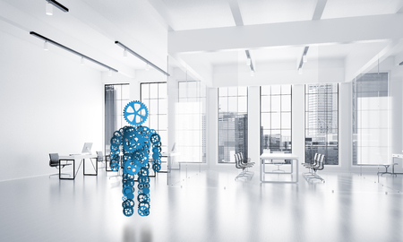 Figure of person made of gears and cogwheels on white office background. 3d rendering