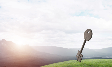 Key stone figure as symbol of access on green hill Stock Photo - 93844162