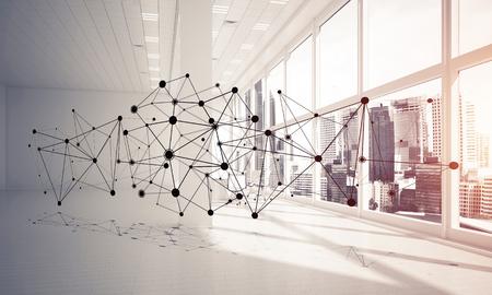 Linien verbunden mit Punkten als soziales Kommunikationskonzept im Büroinnenraum . 3D-Rendering Standard-Bild - 93860719