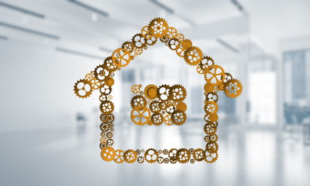 Conceptual background image with house sign made of connected gears. 3d rendering Reklamní fotografie - 94077100