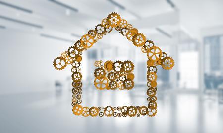 Conceptuele achtergrond met huisteken dat van verbonden toestellen wordt gemaakt. 3D-rendering Stockfoto - 94077100