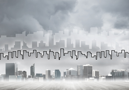 Hand drawn silhouette above modern cityscape with towers and skyscrapers