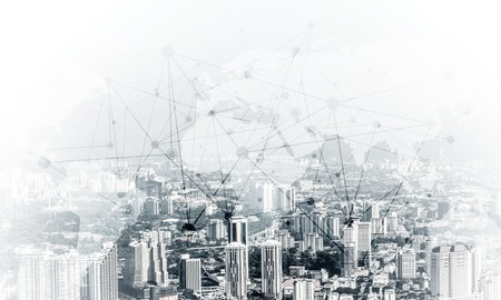 Double exposure of modern cityscape view with digital media interface of networking structure. Wallpaper, backdrop with copyspace. Stock Photo