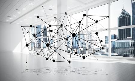 Linien verbunden mit Punkten als soziales Kommunikationskonzept im Büroinnenraum . 3D-Rendering Standard-Bild - 94479606