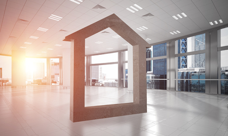 House stone figure as symbol of real estate and elegant office design. 3d rendering Stock fotó - 94567852