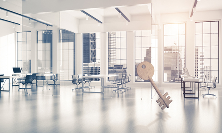 Key stone figure as symbol of access in elegant office room. 3d rendering Stock Photo - 95162394