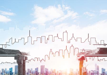 都市景観と日光を背景に、危険とリスクの象徴としてのコンクリート橋の隙間。3D レンダリング。