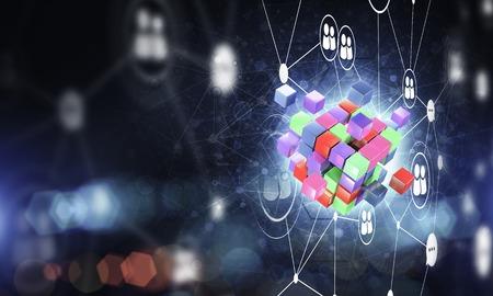 キューブ図とソーシャル接続線を使用した概念的背景画像。3D レンダリング 写真素材
