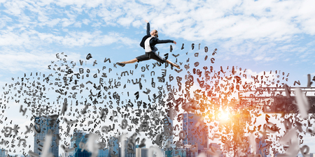 Business woman jumping over gap with flying letters in concrete bridge as symbol of overcoming challenges. Cityscape with sunlight on background. 3D rendering. Foto de archivo