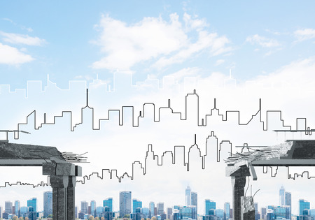A gap in concrete bridge as symbol of danger and risk with silhouette of cityscape on background. 3D rendering.
