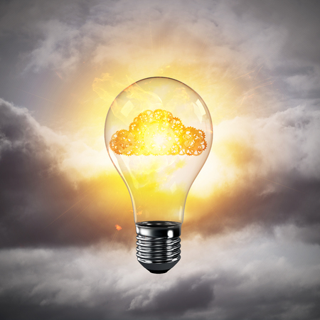 Glass lightbulb with cloud from gears inside with grey cloudly skyscape on background. 3D rendering. Stok Fotoğraf