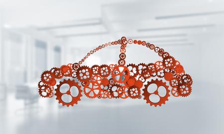 Autopictogram van toestellen en tandraderen op witte bureauachtergrond die wordt gemaakt. 3D-weergave