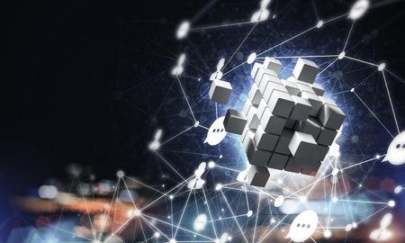 キューブ図形とソーシャル接続線を持つ概念的背景イメージ。3D レンダリング