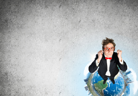 Top view of funny businessman in red glasses celebrating success. Elements of this image are furnished by NASA 스톡 콘텐츠