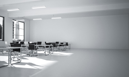 Modern empty elegant office with windows and workplaces. Mixed media Archivio Fotografico