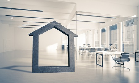 House stone figure as symbol of real estate and elegant office design. 3d rendering Foto de archivo - 96712543
