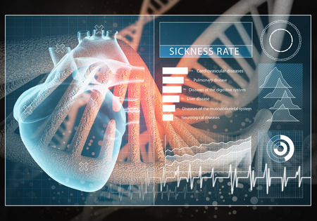 Media medicine background image as DNA research concept. 3D rendering. Banco de Imagens