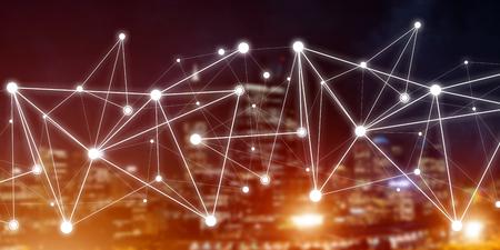 Hintergrundbegriffsbild mit Sozialverbindungslinien auf dunklem Hintergrund