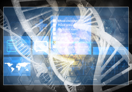 Media medicine background image as DNA research concept. 3D rendering. 版權商用圖片