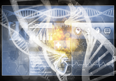 Media medicine background image as DNA research concept. 3D rendering. Stok Fotoğraf