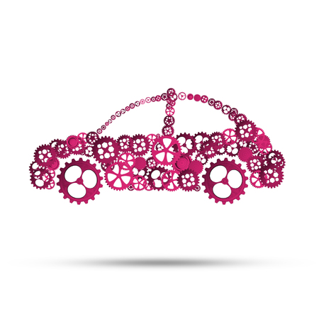 Car icon made of gears and cogwheels on white background