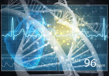 Media medicine background image as DNA research concept. 3D rendering. Stok Fotoğraf