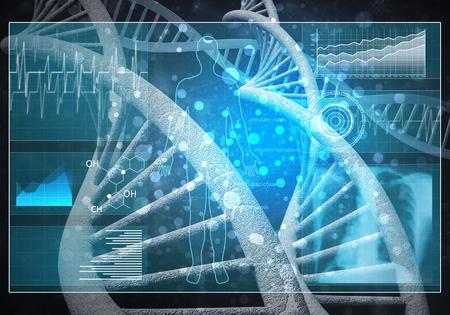 Media medicine background image as DNA research concept. 3D rendering. Reklamní fotografie - 99902834