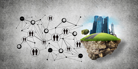 Concept of social communication in the city by means of flying island with modern buildings and social network structure against gray wall on background. 3D rendering. 3D rendering. Banque d'images
