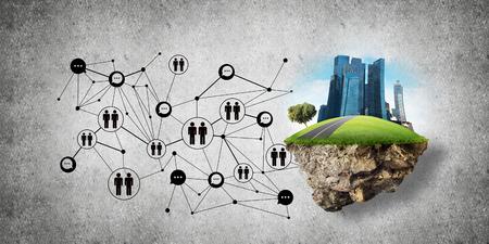 Concepto de comunicación social en la ciudad mediante isla voladora con edificios modernos y estructura de red social contra la pared gris en el fondo. Representación 3D Representación 3D