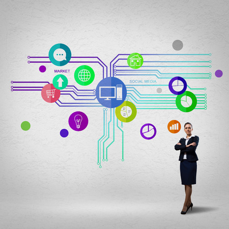 Businesswoman and color application icons at background Stock Photo