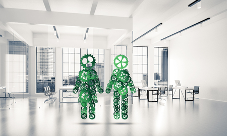 Figures of man and woman made of gears and cogwheels on white office background. 3d rendering