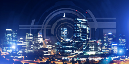 Background conceptual image with virtual interface against night glowing city Banco de Imagens