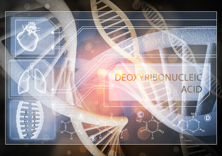 Media medicine background image as DNA research concept. 3D rendering. Stock Photo - 101842786