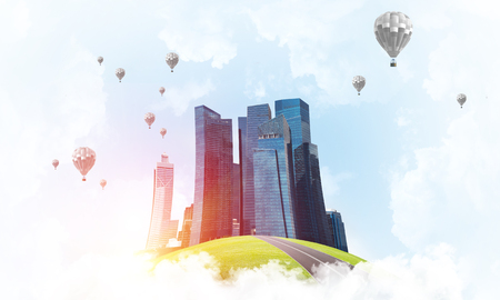 Modern cityscape with buildings and skyscrapers floating on clouds in sky