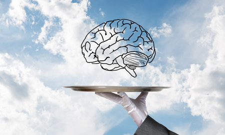 Cropped image of waitresss hand in white glove presenting sketched brains on metal tray with cloudy skyscape on background. 3D rendering. Stok Fotoğraf