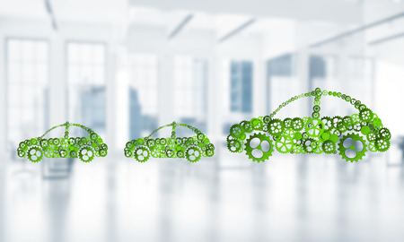 Car icon made of gears and cogwheels on white office background. 3d rendering