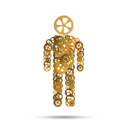 Figure of person made of gears and cogwheels on white background