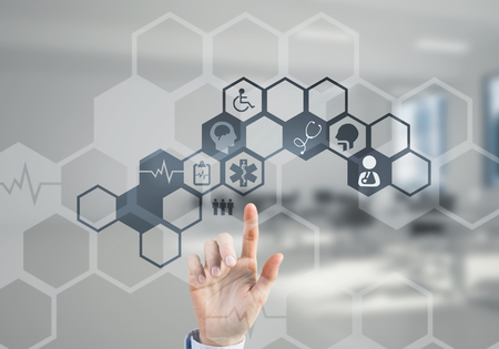 Hand of woman touching icon of media screen with medicine concept Stock Photo