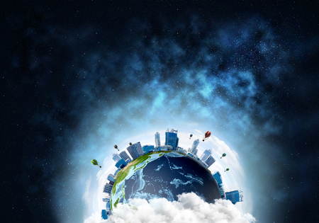 Abstract image of space view at planet Earth in clouds with buildings and aerostats. Dark space haze on background.