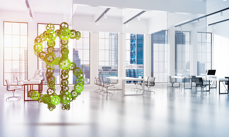 Making money and wealth represented by dollar sign made of gears. 3d rendering Zdjęcie Seryjne - 104915628