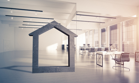 House stone figure as symbol of real estate and elegant office design. 3d rendering Foto de archivo - 105394185