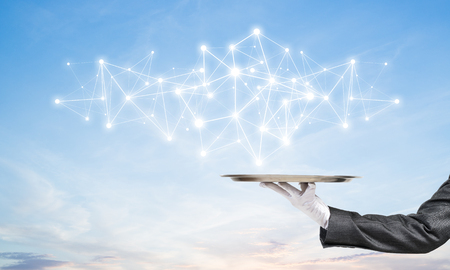 Cropped image of waitresss hand in white glove presenting white social media network structure on metal tray with cloudy skyscape on background. 3D rendering.