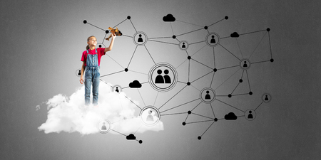 Cute smiling kid girl on cloud presenting social connection concept Standard-Bild - 107409897