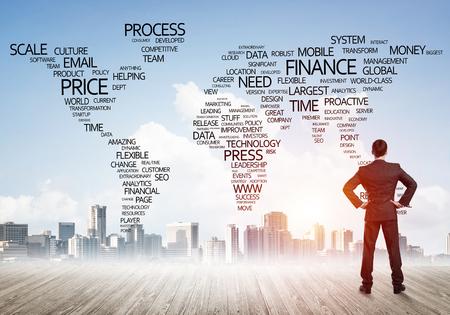 Homme affaires, debout, dos, regarder, global, affaires, concept