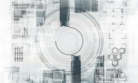 Abstract image of two modern urban worlds located upside down to each other on sky background and media interface. Double exposure. Wallpaper, backdrop with copyspace.